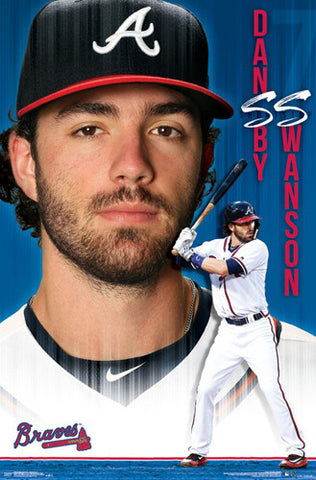 Dansby Swanson Atlanta Braves Shortstop Official MLB Baseball Action POSTER - Trends International