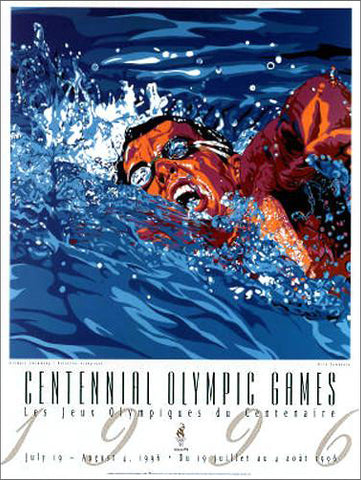 Atlanta 1996 Olympics Swimming (Men's Freestyle) Official Event Poster - Fine Art Ltd.