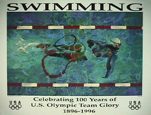 Olympic Swimming Poster by Robert Heindel (USOC 100 Years) - Fine Art Ltd.