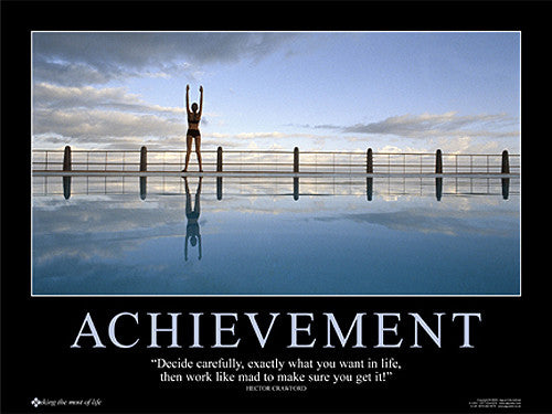"Swimming ""Achievement"" Motivational Inspirational Poster - Jaguar Inc."