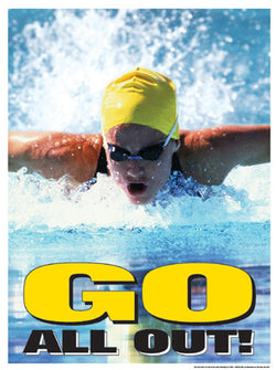 "Swimming ""Go All Out"" Motivational Poster - Fitnus Corp."