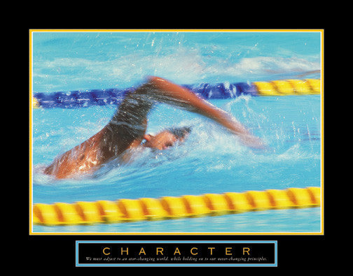 "Swimming ""Character"" Motivational Poster - Front Line"