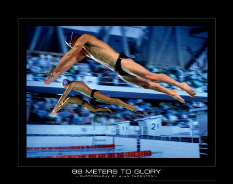 "Swim Race ""98 Meters to Glory"" Motivational Poster Print - SportsPosterWarehouse.com"
