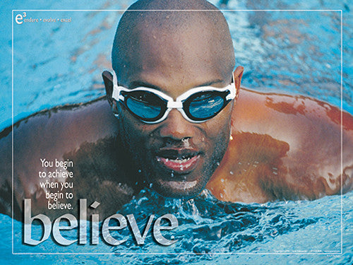 "Swimming ""Believe"" Motivational Inspirational Poster - Jaguar Inc."