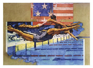 Swimming Glory USA Patriotic Sports Art Poster Print - Front Line