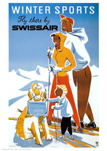 Winter Sports by Swissair (Skiing Poster c.1953) - A.A.C.