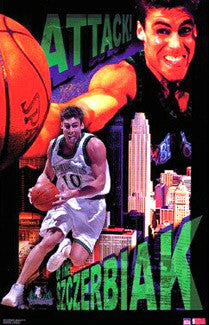 "Wally Szczerbiak ""Attack"" Minnesota Timberwolves Poster - Starline 2002"