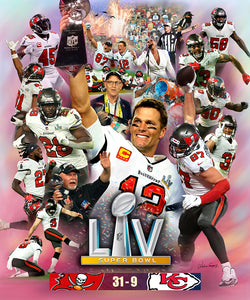 "Tampa Bay Buccaneers ""LV Glory"" Super Bowl LV (2021) Champions Premium Art Collage Poster - Wishum Gregory"