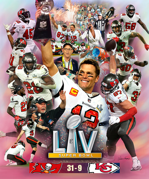 "*SHIPS 2/25* Tampa Bay Buccaneers ""LV Glory"" Super Bowl LV (2021) Champions Premium Art Collage Poster - Wishum Gregory"