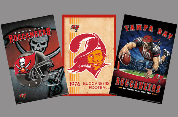 COMBO: Tampa Bay Buccaneers NFL Football 3-Poster Theme Art Team Logo Combo Set Special