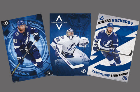 COMBO: Tampa Bay Lightning 3-Poster Combo Set (Stamkos, Vasilevskiy, Kucherov) - Trends International