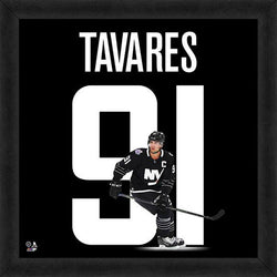 John Tavares 91 In Black New York Islanders FRAMED 20x20 UNIFRAME PRINT