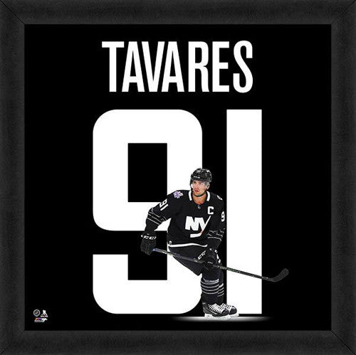 "John Tavares ""91 In Black"" New York Islanders FRAMED 20x20 UNIFRAME PRINT - Photofile"