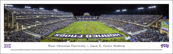 TCU Horned Frogs Football Carter Stadium Game Night Panoramic Poster Print - Blakeway 2014