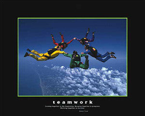 "Skydiving ""Teamwork"" Motivational Poster - Eurographics 16x20"