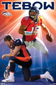 "Tim Tebow ""Shining Star"" Denver Broncos NFL Action Poster - Costacos 2012"