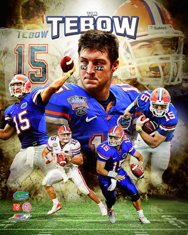 "Tim Tebow ""Gator Great"" Classic Collage Print - Photofile Inc."