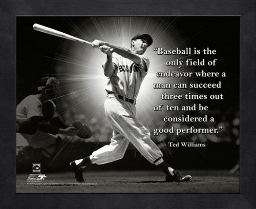 "Ted Williams ""Three in Ten"" Boston Red Sox FRAMED 16x20 PRO QUOTES PRINT - Photofile"