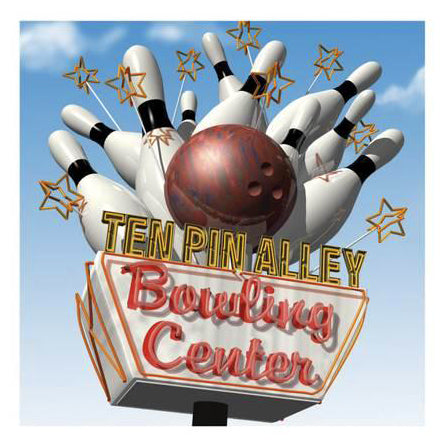 "Bowling ""Ten Pin Alley"" Vintage Neon Sign Art Poster by Anthony Ross - McGaw Graphics"