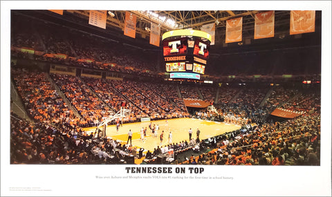 "Tennessee Vols Basketball ""Tennessee On Top"" Thompson-Boling Arena Game Night Panoramic Poster - Sofa Galleria"