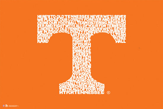 "Tennessee Vols ""Down the Field"" Fight Song Logo Poster"