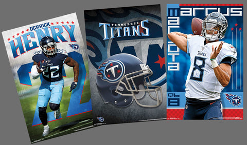 COMBO: Tennessee Titans 3-Poster Combo Set (Derrick Henry, Marcus Mariota, Team Logo Posters)