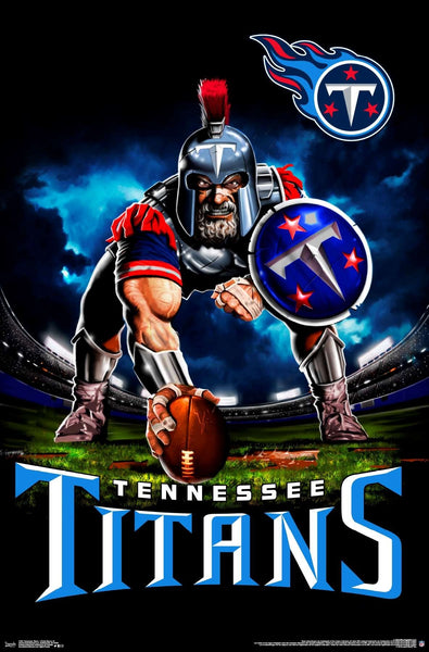 "Tennessee Titans ""Ferocious Football"" NFL Theme Art Poster - Liquid Blue/Trends Int'l."