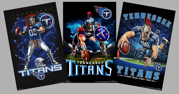 COMBO: Tennessee Titans Football Liquid Blue Theme Art 3-Poster Combo Set - Trends International