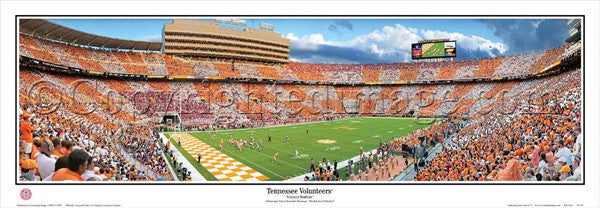 "Tennessee Vols Football ""Gameday Checkers"" Neyland Stadium Panoramic Poster Print - Everlasting"