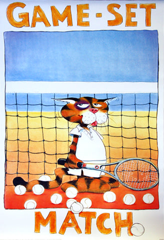 "Tennis ""Game Set Match"" (Alex the Cat) Poster - Verkerke 1999"