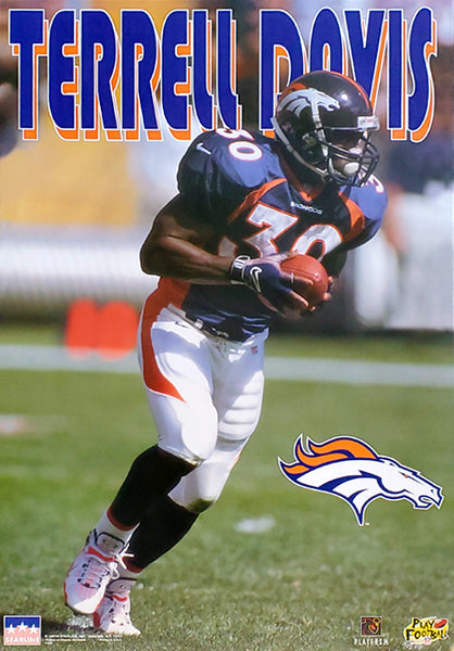 "Terrell Davis ""Action"" Denver Broncos NFL Football Poster - Starline 1997"
