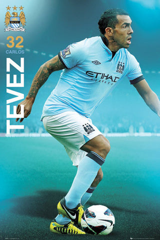 "Carlos Tevez ""Man City Superstar"" Soccer Action Poster - GB Eye (UK)"