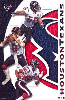 "Houston Texans ""Three Stars"" (Carr, Sharper, Gaffney) Poster - Starline 2002"