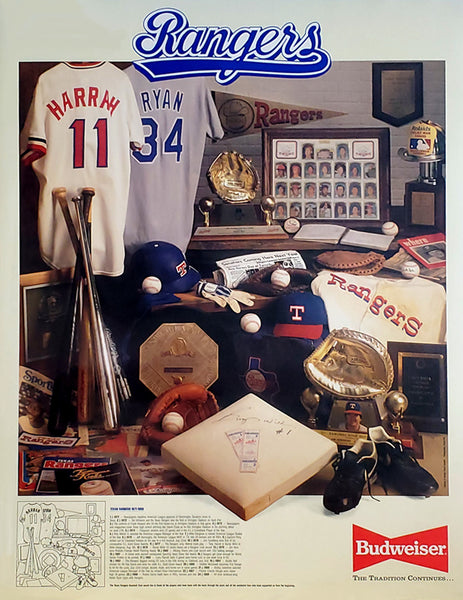 Texas Rangers Baseball Historic Collage 1971-89 Poster - Budweiser/Rangers 1989