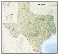 Map of TEXAS National Geographic Classic Edition 38x40 Wall Map Poster - NG Maps