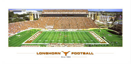 "Texas Longhorns Football ""Since 1893"" Memorial Stadium Gameday Panoramic Poster Print"