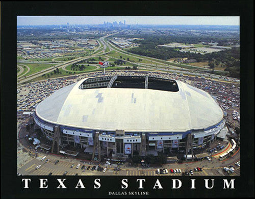Texas Stadium with Dallas Skyline Premium Poster Print - Aerial Views 2004