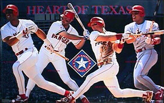 "Texas Rangers ""Heart of Texas"" Poster (Gonzalez, Clark, Tettleton, Pudge) - Costacos 1996"