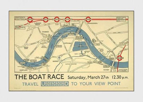The Boat Race Rowing on the Thames Classic 1926 London Tube Poster Reprint - Transport London (UK)