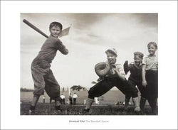 "Kids Baseball ""The Baseball Game"" Classic Black-and-White Poster Print - O.v.H. Designs"