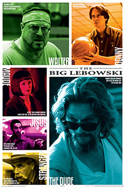 The Big Lebowski Six Main Characters with Quotes Poster - Aquarius Images