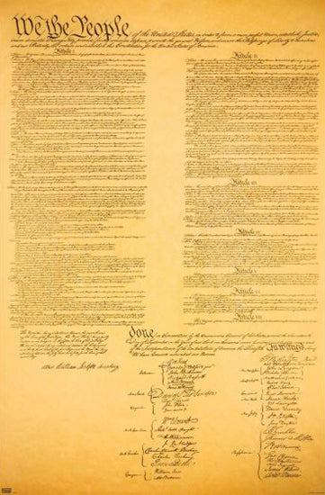 The United States Constitution (1787) Decorative 22x34 Wall Poster - Trends International