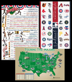 The Ultimate Baseball Fan's Ultimate Three-Poster Combo Set (History, Stadiums, MLB Logos)