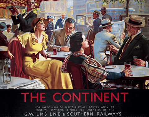The Continent By Rail (England c.1925) Vintage Travel Poster Reprint - Front Line