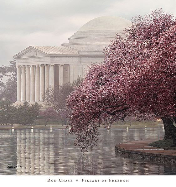 Thomas Jefferson Memorial in Spring (Cherry Blossoms) Washington, DC Premium Art Poster Print by Rod Chase - Americana Series