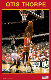 "Otis Thorpe ""Action"" Houston Rockets NBA Basketball Poster - Starline 1991"