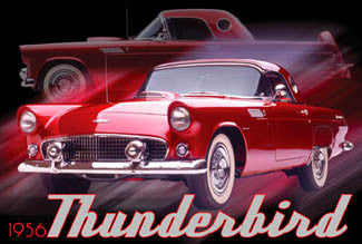 Red Ford Thunderbird 1956 Classic American Car Autophile Poster - Import Images