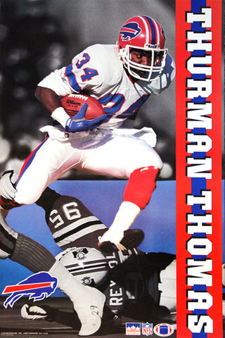 "Thurman Thomas ""Airborne"" Buffalo Bills NFL Action Poster - Starline 1991"