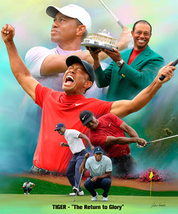"Tiger Woods ""The Return to Glory"" 2019 Masters Champion Art Print Poster - Wishum Gregory"