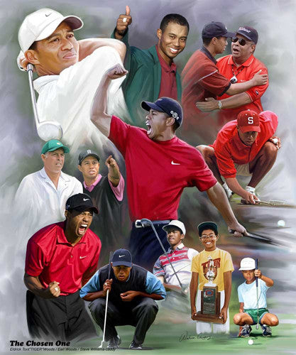 "Tiger Woods ""The Chosen One"" Career Collage Art Print Poster - Wishum Gregory"